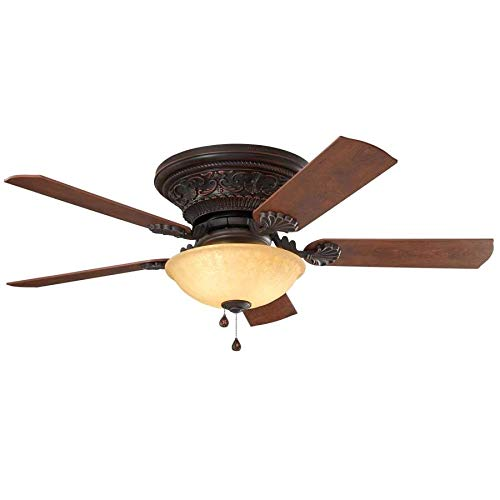 Harbor Breeze Lynstead 52-in Bronze LED Indoor Flush mount Ceiling Fan with Light Kit (5-Blade)