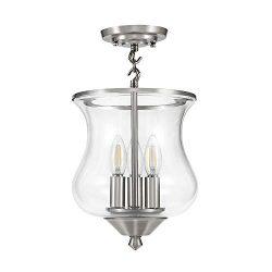 Ravenna Home Clear Glass Semi-Flush Mount Pendant Ceiling Light Fixture with LED Light Bulb R ...
