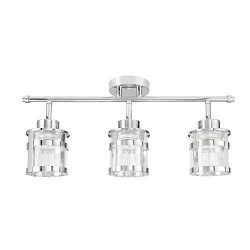 Globe Electric 59451 Wexford 3-Light Track Lighting, Chrome, Clear Glass Shades