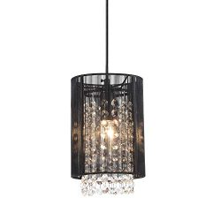 Modern Chandeliers Black Mini Chandelier Crystal Pendant Light 1 Light Ceiling Light Fixtures