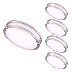 OSTWIN 12″ (4 Pack) Small Size LED Ceiling Light Fixture Flush Mount, Dimmable, Round 15 W ...