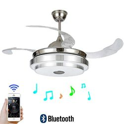 "FINE MAKER 42"" Ceiling Fan with Light LED Integration Three-Color Light with Bluetooth Sma ..."