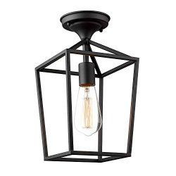 Emliviar Semi-Flush Mount Ceiling Light, 1-Light 13 inch Height Ceiling Light Fixture in Black F ...