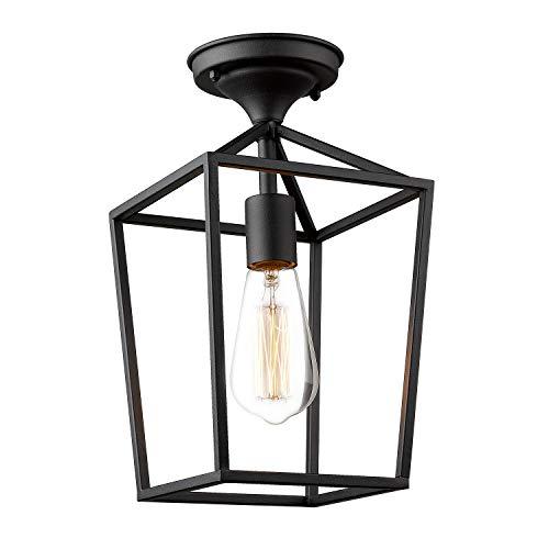 Emliviar Semi-Flush Mount Ceiling Light, 1-Light 13 inch Height Ceiling Light Fixture in Black F ...