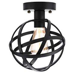 Vintage Industrial Ceiling Light Flush Mount, Metal Spherical Ceiling Lamp Hallway Light Fixture ...