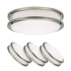 LUXTER (4 Pack) 12″ Flush Mount Ceiling Light, Modern Flushmount Light, Dimmable, Round 20 ...