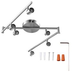 6-Light Adjustable LED Dimmable Track Lighting Kit by AIBOO,Flexible Foldable Arms,Satin Nickel  ...
