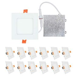 OSTWIN (12 Pack) 4 inch 9W (45 Watt Repl.) IC Rated LED Recessed Low Profile Slim Square Panel L ...