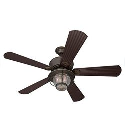 Merrimack 52-in Antique Bronze Outdoor Downrod or Flush Mount Ceiling Fan with Light Kit and Rem ...