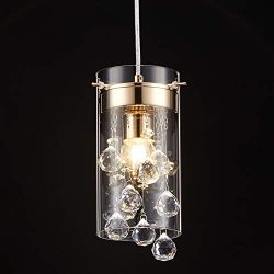 Tayanuc Gold Crystal Ceiling Pendant Light Fixture, Hanging Pendant Chandelier for Kitchen Islan ...