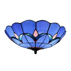 BAYCHEER HL404204 Tiffany Style Semi Flush Mount Light Glass Shade Flower Ceiling Fixture Ceilin ...
