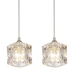 COTULIN Set of 2 Modern Living Room Dining Room Bedroom Crystal Pendant Light,Pendant Light Fixt ...
