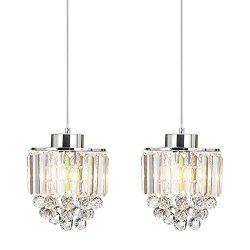 COTULIN Set of 2 Polished Decorative Crystal Chandelier Pendant Light,Pendant Lighting Fixture C ...