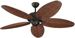 Monte Carlo 5CU52RB Cruise Tropical 52″ Outdoor Ceiling Fan, 5 ABS Palm Leaf Blades, Roman ...
