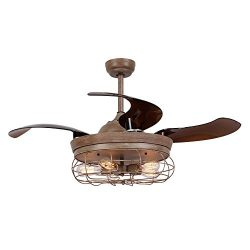 Parrot Uncle Ceiling Fan with Light 46 Inch Industrial Ceiling Fan Retractable Blades Vintage Ca ...