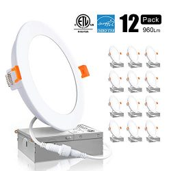 Ensenior 12W 6 Inch Slim LED Recessed Downlight with Junction Box, 5000K Daylight, Dimmable Canl ...