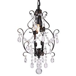 Riomasee Mini Chandelier Bronze Chandeliers 1 Light Elegant Chandelier Crystal Iron Ceiling Ligh ...