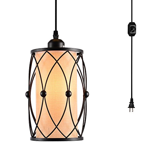 HMVPL Vintage Pendant Lighting Fixtures with Plug in Hanging Cord and Dimmer Switch, Farmhouse C ...