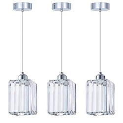 SHENGQINGTOP Modern Crystal Pendant Light for Kitchen Island, Bedroom, Living Room (Cuboid Penda ...