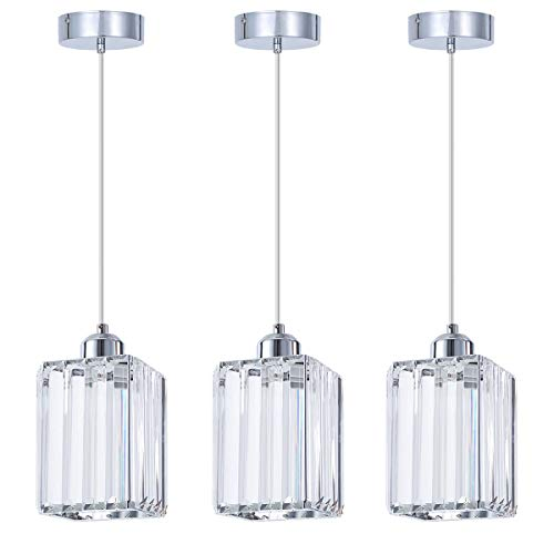SHENGQINGTOP Modern Crystal Pendant Light for Kitchen Island, Bedroom, Living Room (Cuboid Penda ...
