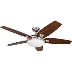 Honeywell Carmel 48-Inch Ceiling Fan with Integrated Light Kit and Remote Control, Five Reversib ...