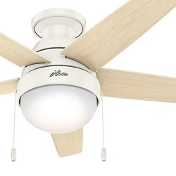 Hunter Fan 46 inch Low Profile Fresh White Indoor Ceiling Fan with Light Kit and Pull Chain (Ren ...