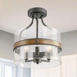 LALUZ Faux Wood Ring Ceiling Light Fixture, Modern Semi Flush Mount Ceiling Light, Farmhouse Dru ...