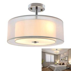 DLLT 3-Lights Industrial Semi Flush Mount Light Fixture, Vintage Double Drum Pendant Close to Ce ...