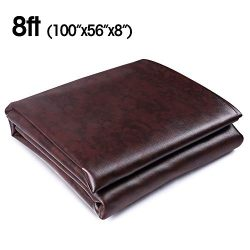 Boshen 7/8/9FT Heavy Duty Fitted Leatherette Billiard Pool Table Cover Furniture Cover (Brown/8FT)
