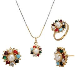 Jwellmart Nine Gems Navratna Faux Pearl Pendent and Earrings set for Women and Girls