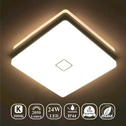 Airand LED Ceiling Lights 24W Fixture Flush Mount 3000K Square LED Ceiling Lamps with 240Pcs LED ...