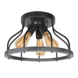 Beuhouz Round Rustic Semi Flush Mount Ceiling Light, Metal and Wood Farmhouse Ceiling Lighting I ...