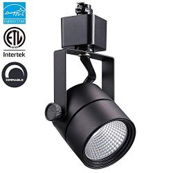 LED Track Light Head Black Finish Round CRI90+, 3000K Warm White Dimmable, 8W (60W Equiv.) 600LM ...