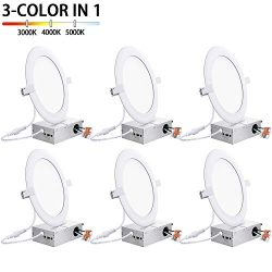 150W Equivalent 6 Inch Ultra-slim Canless LED Recessed Lighting with Junction Box 15W, 1400LM, 3 ...