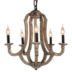 DOCHEER Cottage Vintage 5-Light Wood Metal Chandeliers Shabby Chic Chandelier Hanging Foyer Ligh ...