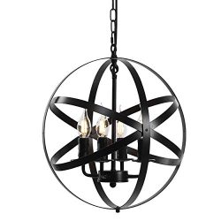 Lika 4-Light Chandeliers 15.7″ Farmhouse Rustic Industrial Pendant Lighting with Metal Sph ...