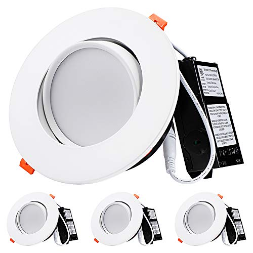 TORCHSTAR 13.5W 6 Inch Gimbal LED Recessed Light with Junction Box Air Tight, CRI90+ 5000K, Dimm ...