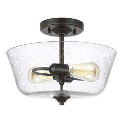 Sea Gull Lighting 7714502-782 Belton Two-Light Ceiling Semi-Flush Mount Hanging Modern Light Fix ...