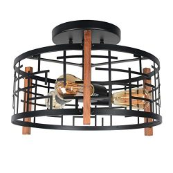Baiwaiz Round Rustic Semi Flush Mount Light, Black Metal and Wood Farmhouse Ceiling Lighting Ind ...