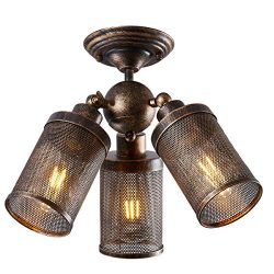 Close to Ceiling Light Fixture Industrial Adjustable, YEPHALL semi Flush Mount Ceiling lamp for  ...