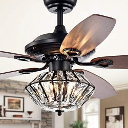 Black Ceiling Fan with Light Kit Crystal Chandeliers Fan Light 52″ Metal Indoor Mute Quiet ...