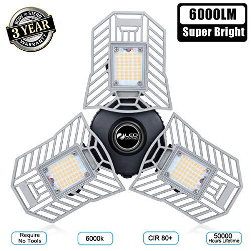 Garage Light 6000 Lm Deformable LED Garage Ceiling Lights 60W CRI 80 Led Shop Lights for Garage  ...