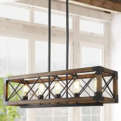 Island Light Fixtures,Rectangular Wood Farmhouse Chandelier for Dining Rooms, 5-Lights Kitchen I ...