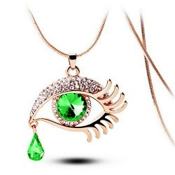 Unpara Crystal Pendent Necklace Fascinating Fashion Vintage Magic Eye Tear Drop Eyelashes Neckla ...