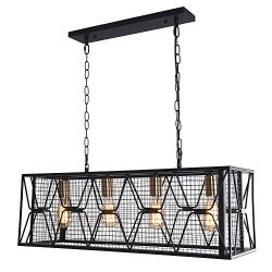 OYIPRO Farmhouse Hanging Fixture Retro Ceiling Light, 4 Lights Industrial Kitchen Island Light C ...
