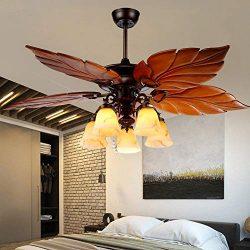 Palm Island Ceiling Fan with Light Kit 52-Inch Tropical Chandelier Fan with 5 Glass Light 5 Wood ...