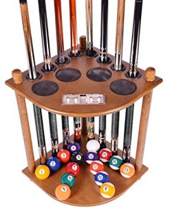 Cue Rack Only – 8 Pool Billiard Stick & Ball Floor Stand with Scorer Oak Finish