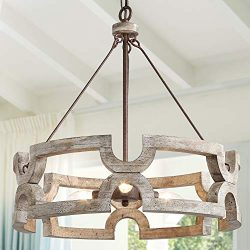 KSANA Farmhouse Chandelier, Wood Drum Chandeliers for Dining Rooms, Living Room, Hand-Painted Wh ...