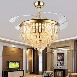 Orillon 42 Inch Golden Modern Chandelier Ceiling Fan with Light for Indoor Room with 4 Retractab ...