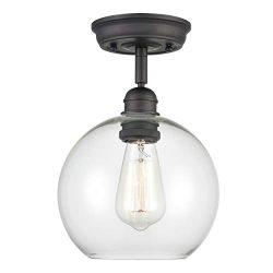 WILDSOUL 60011OB Globe Semi Flush Mount Light, LED Compatible Contemporary Modern Clear Glass Ki ...